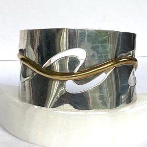 Taxco Sterling Silver Wide Modernist Cuff Bracelet